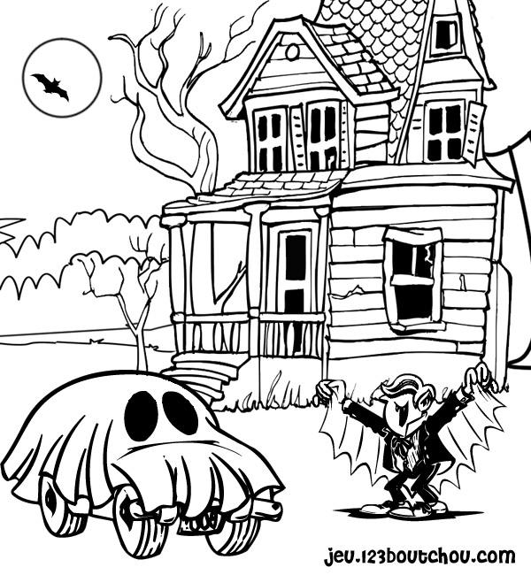Desenho para pintar halloween - casa assombrada