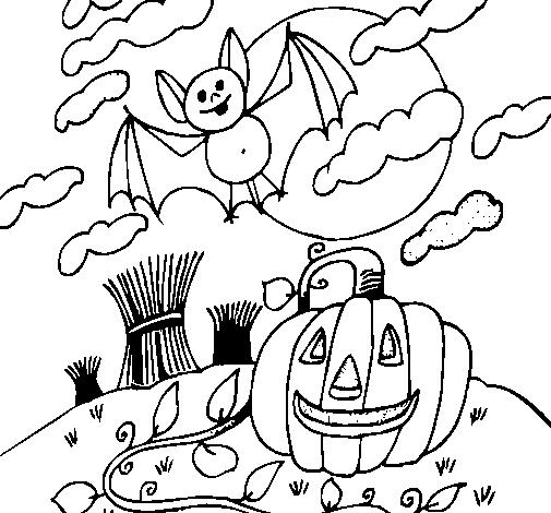 Desenho de halloween para colorir - dia das bruxas